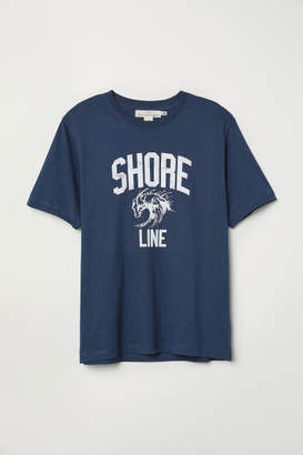H&M T-shirt with Printed Design - Blue