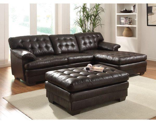AcmeAcme Nigel Dark Brown Bonded Leather Match Sectional Sofa