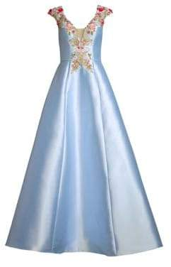 Cap-Sleeve Embroidered A-Line Gown