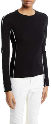 Rosetta Getty Reverse-Seam Crewneck Long-Sleeve Cotton Rib Jersey Top