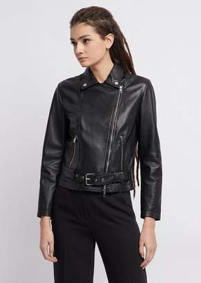 Emporio Armani Garment-Dyed Jacket In Tumbled Nappa Leather