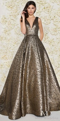 Mac Duggal Glamorous Plunging Metallic Pleated Ball Gown $598 thestylecure.com