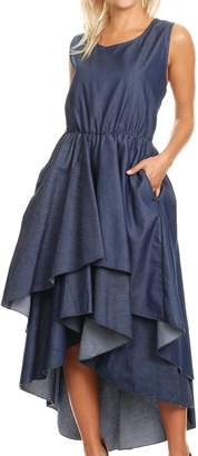 Sakkas 1824 - Emalia Women's Sleeveless Cocktail High Low Hem Dress with Pockets - OS