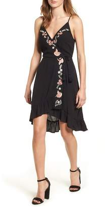 Band of Gypsies Floral Embroidered Faux Wrap Dress