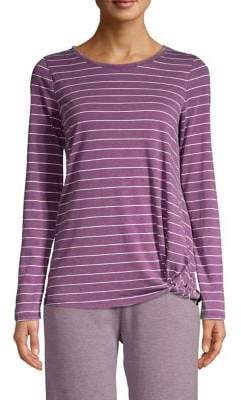 Andrew Marc Long-Sleeve Striped Knit Tee