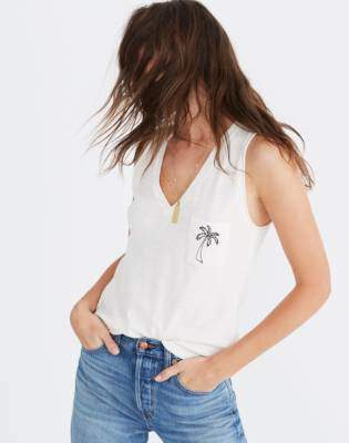 Madewell Embroidered Palm Whisper Cotton V-Neck Pocket Tank