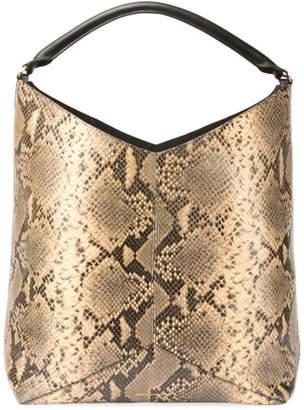 Dries Van Noten Snake-Embossed Leather Hobo Tote Bag