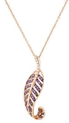 18K Sapphire & Diamond Feather Pendant Necklace