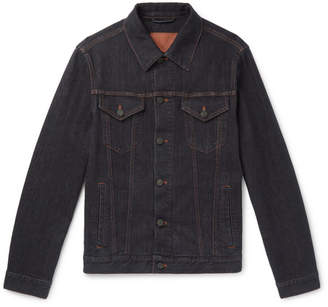Brioni Stretch Cotton and Cashmere-Blend Denim Jacket - Men - Navy