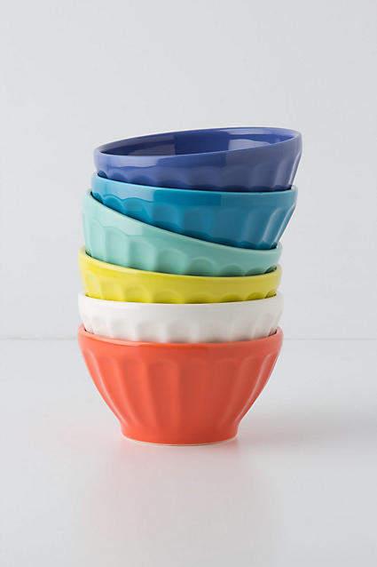 Anthropologie Assorted Latte Bowls, Set of 6