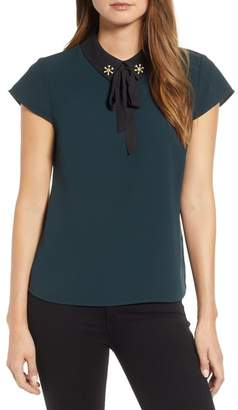 Cynthia Steffe CeCe by Embellished Bow Collar Blouse