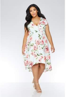Quiz Curve Mint And Pink Floral Dip Hem Dress