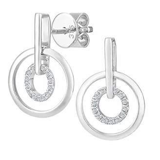 1154a667b Naava Women's 9 ct White Gold Diamond Circle Drop Earrings