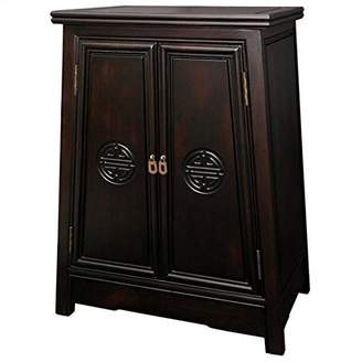 Oriental Furniture Exceptionally Beautiful Mother's Day Gift Idea, 27-Inch Long Life Cabinet Nightstand End Table with Shou Symbol