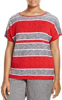 Marina Rinaldi Adesso Short Sleeve Striped Sweater $390 thestylecure.com