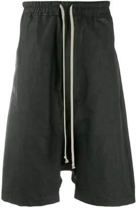 Rick Owens waxed linen drop crotch shorts