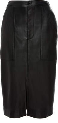Bassike Split Leather Midi Skirt