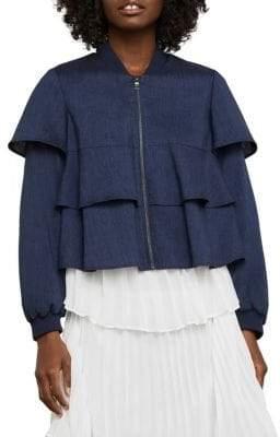 BCBGMAXAZRIA Ruffle Cropped Jacket