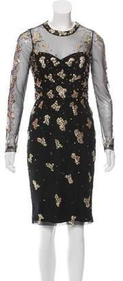 Rachel Gilbert Embellished Knee-Length Dress