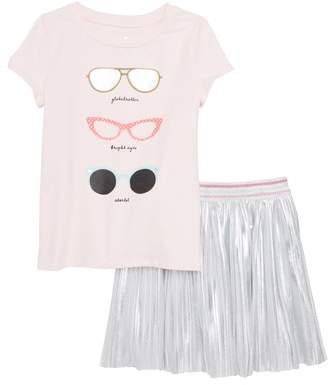 Kate Spade graphic tee & skirt set