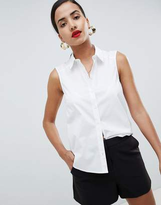 Asos DESIGN sleeveless shirt in stretch cotton