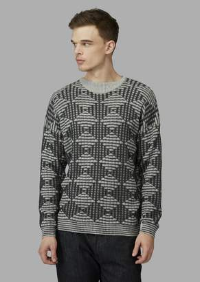 Giorgio Armani Wool And Alpaca Sweater With Lozenge Pattern