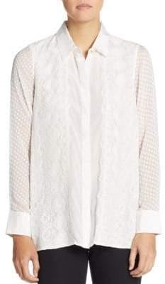 Robert Graham Leila Silk Mixed-Lace Blouse