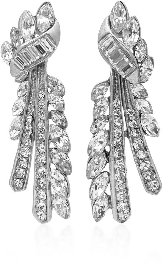 Ben-AmunBen Amun Ribbon Silver-Tone Crystal Earrings