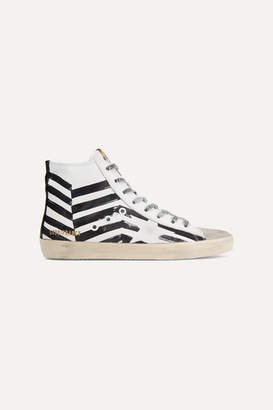 Golden Goose Francy Distressed Printed Leather And Suede High-top Sneakers - White