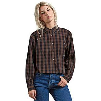 Volcom Junior's Dare 2 Bloom Long Sleeve Button Down Flannel Shirt