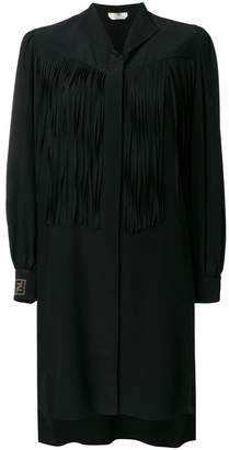 Fendi fringe detail silk shirt dress