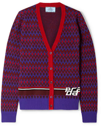 Prada Intarsia Wool And Cashmere-blend Cardigan - Purple
