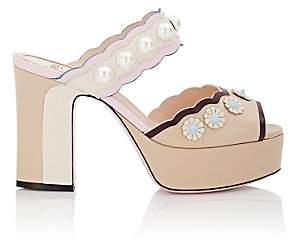 Fendi Women's Stud & Pearl-Embellished Leather Platform Sandals - Rose