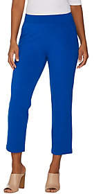 Belle by Kim Gravel Ponte Cropped Pants w/Goldtone Zipper