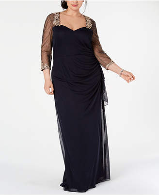 1723e06902a Xscape Evenings Plus Size Embellished Illusion Gown