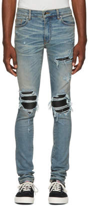 Amiri Blue and Black Leather Patch MX-1 Jeans