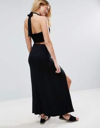 Asos Halter Neck Maxi Dress With Shirred Back Panel