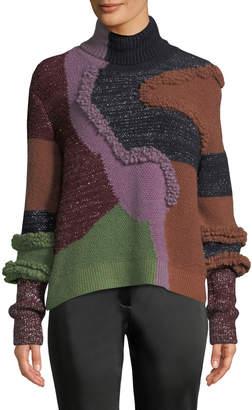 Peter Pilotto Turtleneck Patchwork Knit Pullover Sweater w/ Metallic