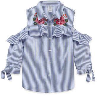 Arizona Cold Shoulder Button-Front Ruffle Shirt - Girls' 4-16 & Plus
