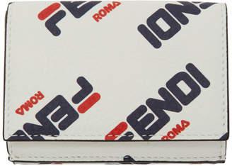 Fendi White Micro Mania Trifold Wallet