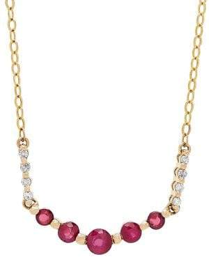 Lord & Taylor 14K Yellow Gold, Ruby & Diamond Chain Necklace