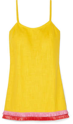 STAUD - Sonny Fringed Linen-blend Mini Dress - Yellow