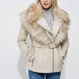 River Island Petite cream faux fur collar biker jacket