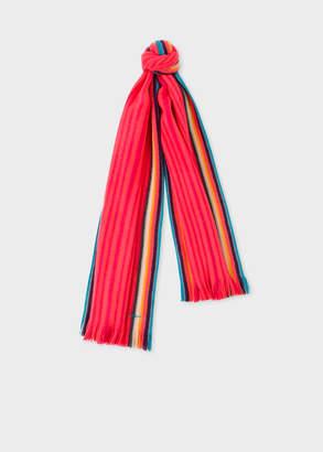 Paul Smith Women's Pink 'Artist Stripe' Band Merino Wool Scarf