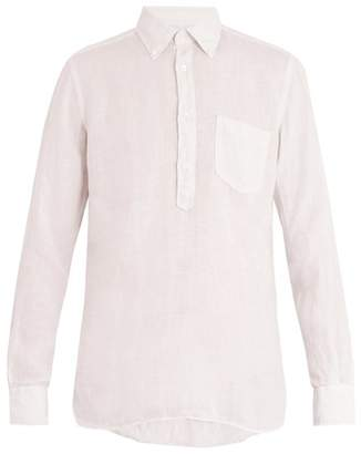 Glanshirt - Eric Button Down Collar Linen Shirt - Mens - Pink