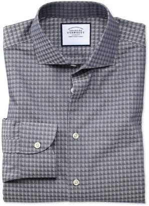Charles Tyrwhitt Classic Fit Business Casual Navy Geometric Cotton Dress Shirt Single Cuff Size 15.5/35