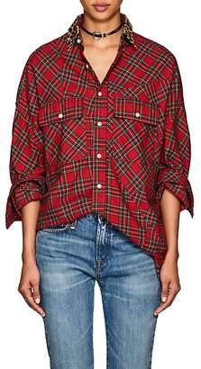 R 13 Women's Plaid Cotton Flannel Oversized Shirt