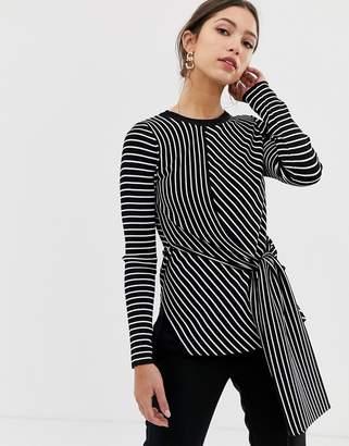 Karen Millen tie jumper in diagonal stripe