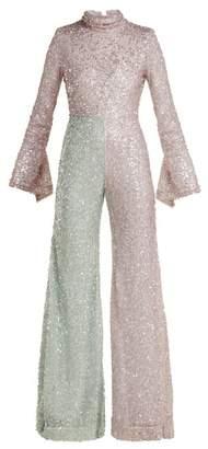 Halpern - Flared Sequin Jumpsuit - Womens - Pink Multi