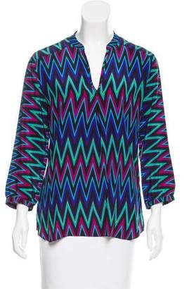 Amanda Uprichard Silk Geometric Printed Top